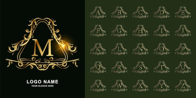 Letter m or collection initial alphabet with luxury ornament floral frame golden logo template.
