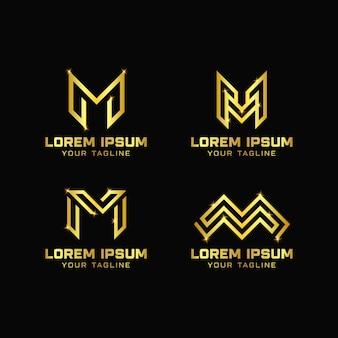 文字mデザインのロゴのテンプレート
