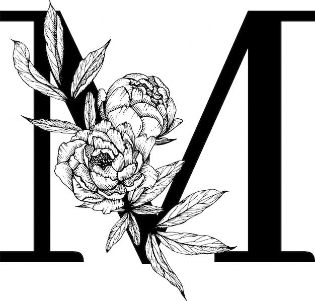 文字m、花アルファベット