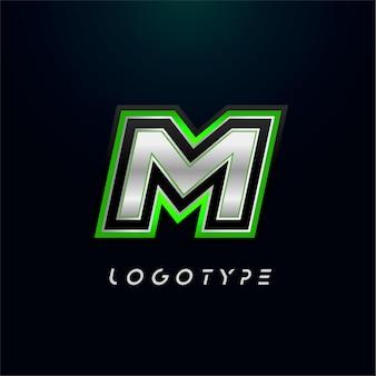 ビデオゲームのロゴとスーパーヒーローのモノグラムスポーツゲームのエンブレムの文字m大胆な未来的な文字