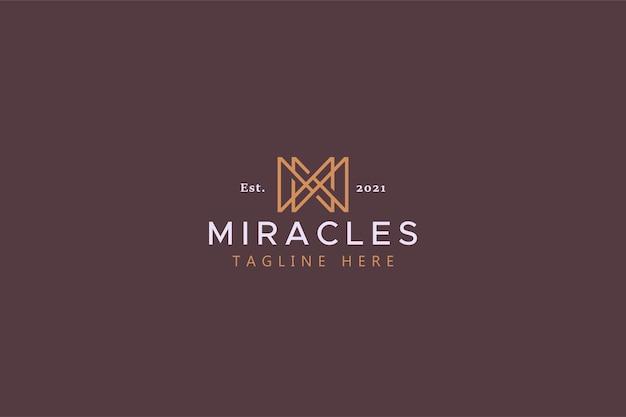 Буква m геометрический логотип брендинга