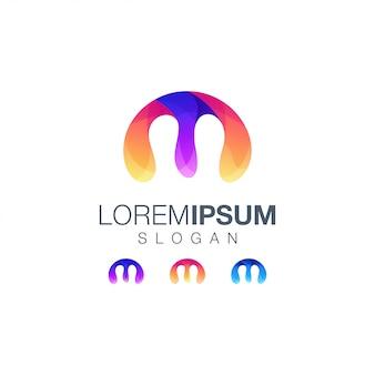 Letter m gradient color logo design