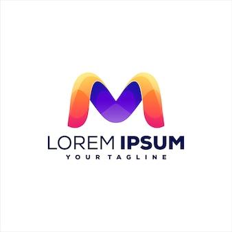 Буква m градиентный дизайн логотипа