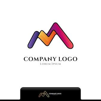 Буква m градиентный логотип, изолированные на белом фоне Premium векторы