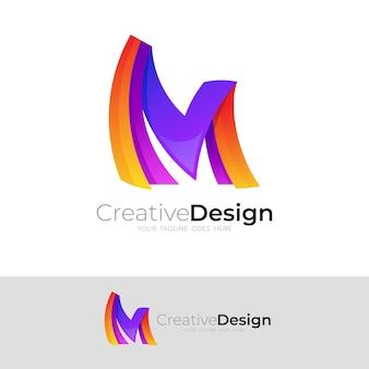 文字mアイコンテンプレート、モダンなデザインのmロゴ