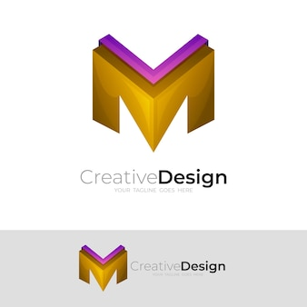 Letter m icon with 3d colorful, simple logos