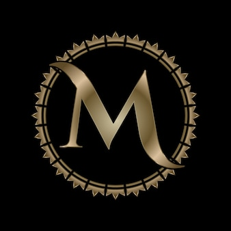 Letter m initial gold effect royal crown