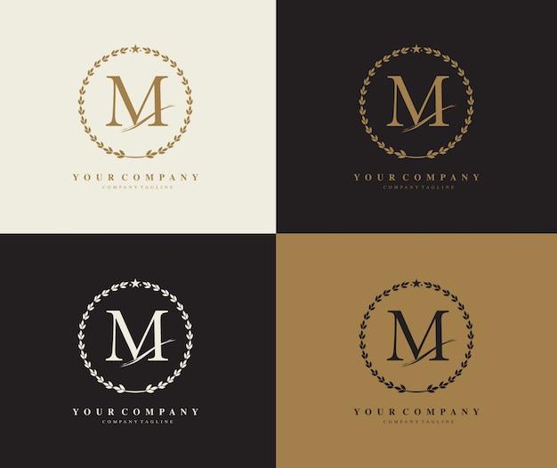 Буква m лавровый венок векторный логотип