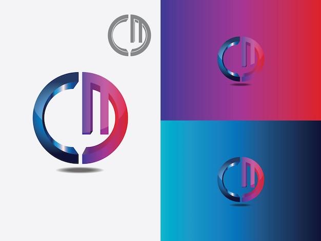 Буква m, буква c, cm, mc, m, c абстрактная буква логотип вектор вензель
