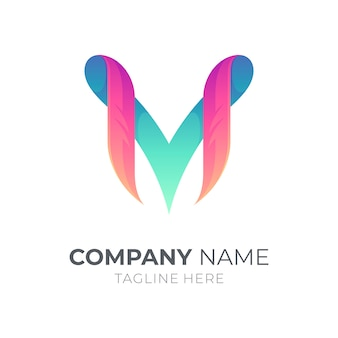 Letter m and letter v monogram logo template