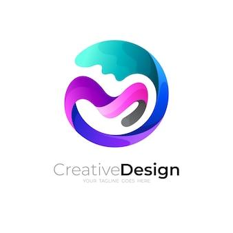 文字mのロゴとスウッシュデザインの組み合わせ、円のアイコン