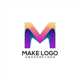 Letter m logo colorful gradient abstract