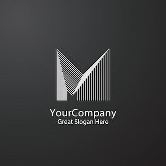 企業のビジネスのためのm字型ロゴデザインコンセプト
