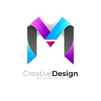 レターmロゴデザインテンプレート、モダンなスタイルのロゴ