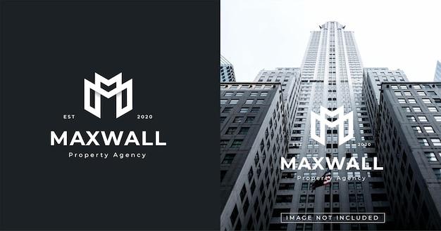 편지 m 로고 디자인 템플릿 모노그램 스타일