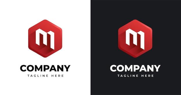 Шаблон дизайна логотипа буква m в стиле геометрической формы