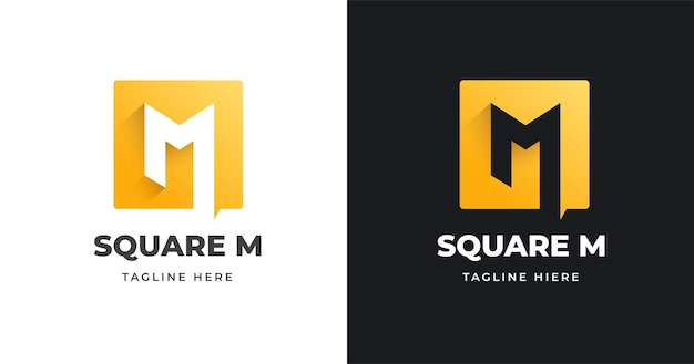 Letter m logo design template with square shape style