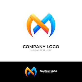 Дизайн логотипа буква m с 3d-синим и оранжевым цветовым стилем