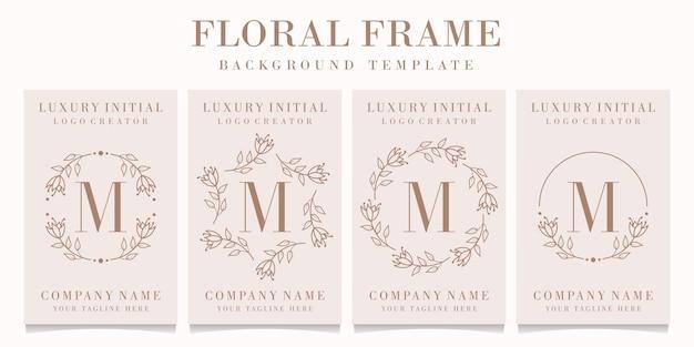 花のフレームテンプレートと文字mロゴデザイン