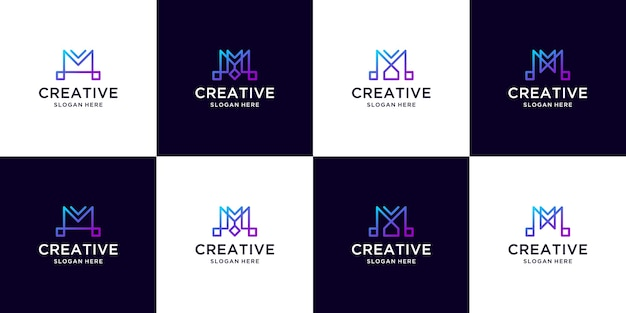 Letter m logo gradient color collection