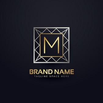 幾何学的なスタイルで文字mのロゴ