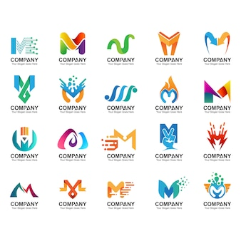 Letter m logo set, business identity icons, abstract letter m logo collection
