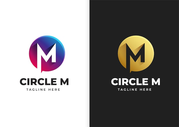 Буква m логотип векторные иллюстрации с дизайном в форме круга