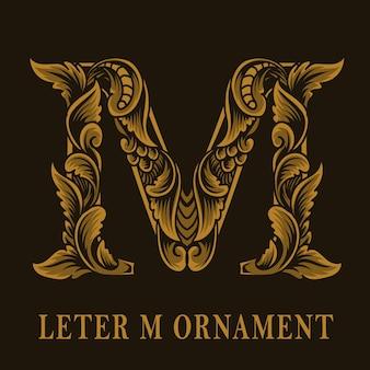 Letter m logo vintage ornament style