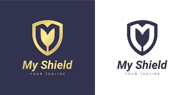 ミニマリストの盾とセキュリティの概念を持つ文字mのロゴ