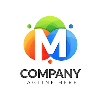 Letter m logo with colorful circle background for creative industry, web, business and companyt