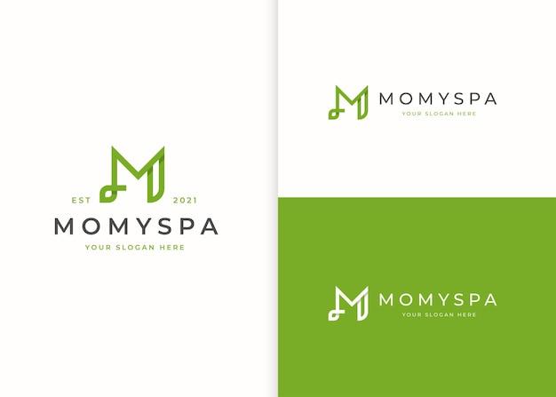 Буква m логотип с дизайном значка листа
