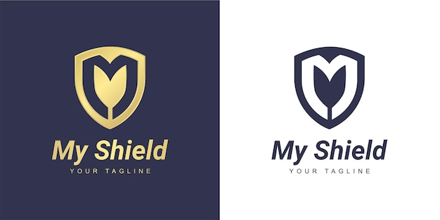 Letter m logo with a minimalist  shield  and  security  concept
