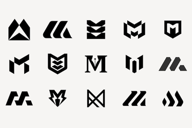 Letter m logotype set collection template