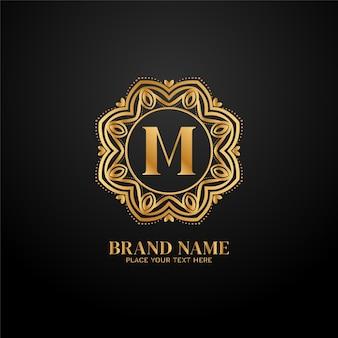 Lettera m logo del marchio di lusso concept design