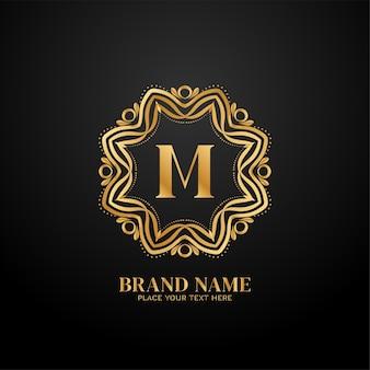 文字 m の高級ブランドのロゴのコンセプト