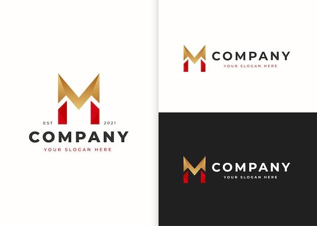 文字m高級ロゴデザインテンプレート。ベクトルイラスト