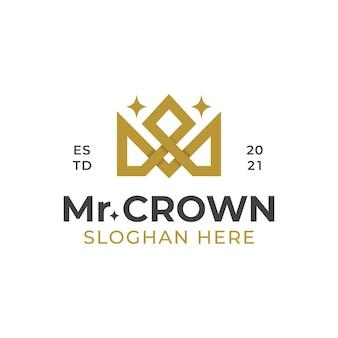 문자 m 럭셔리 크라운 선형 로고는 보석 상점에 사용할 수 있습니다.