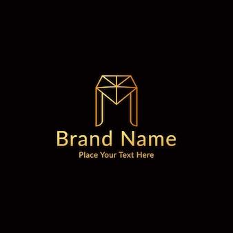 ダイヤモンドと文字mのモダンで豪華なロゴ