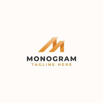 편지 m 모노그램 컨셉 로고 템플릿