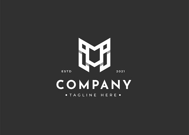 Буква m вензель логотип дизайн шаблона