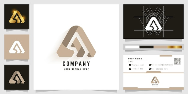 Letter a or m monogram logo with business card design