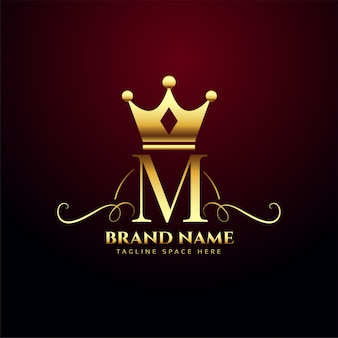 Letter m monogram logo with golden crown