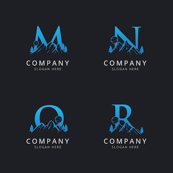 Letter m n o and r with abstract mountain logo template