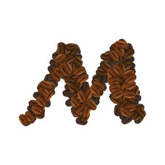 커피 곡물의 문자 m