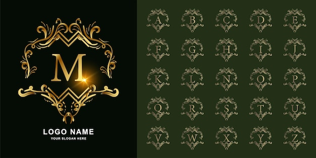 편지 m 또는 고급 장식 꽃 프레임 황금 로고 템플릿이 있는 컬렉션 초기 알파벳입니다.