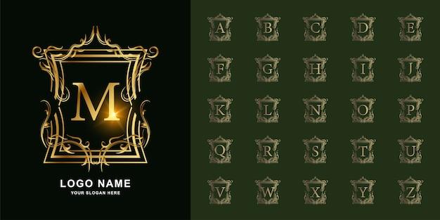 文字mまたは豪華な装飾の花のフレームの黄金のロゴのテンプレートとコレクションの最初のアルファベット。