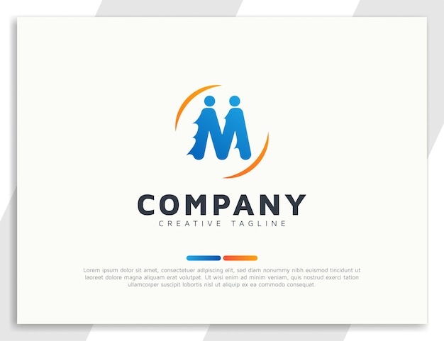 Letter m people team logo concept