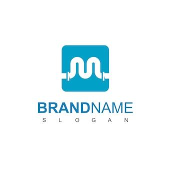 Буква m, шаблон дизайна логотипа трубы для символа сантехнической компании