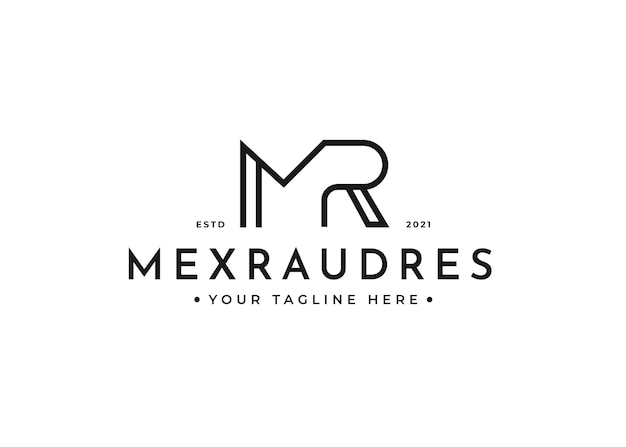 Письмо mr логотип дизайн шаблона