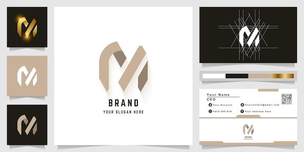 Letter m or rn monogram logo with business card design